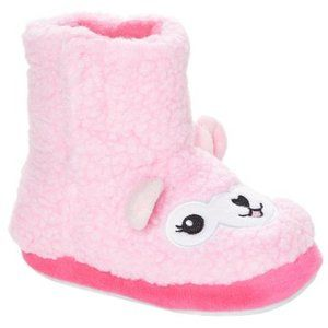 Girl's Pink Llama Sherpa Slippers House Shoes Boot